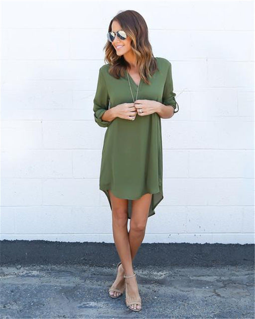 2018 Fashion Women Casual Loose Plus Size Elegant Dress Long Sleeve Irregular Chiffon Dress