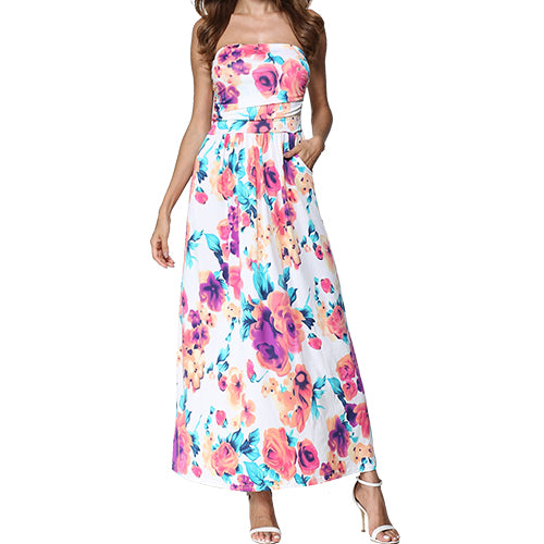Strapless Off Shoulder Long Maxi Dress Sundress Women Summer Tunic Boho Beach Dress