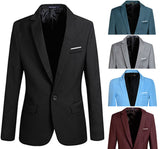 Men Stylish Slim Fit One Button Blazers Lightweight Casual Suit Jacket