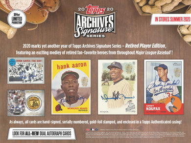 2020 Topps Archives Signature Series Retired Edition 20 Box Case - Hit Draft