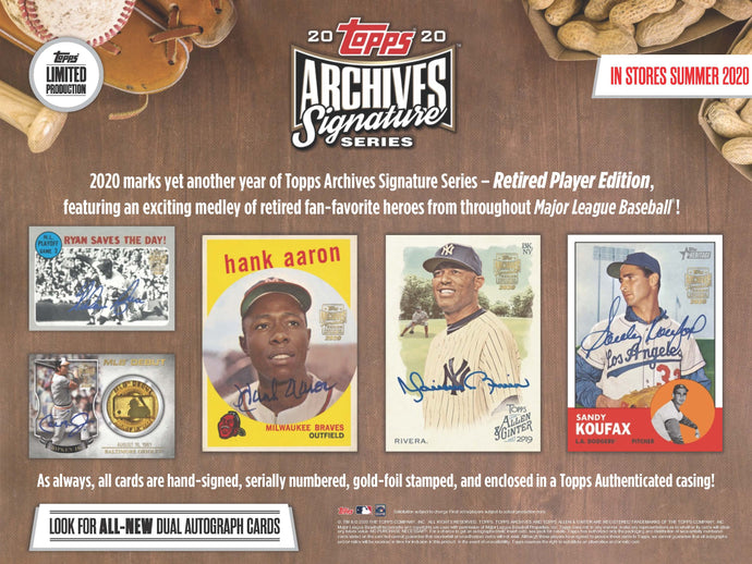 2020 Topps Archives Signature Series Retired Edition 20 Box Case - 10 Spot Snake Draft