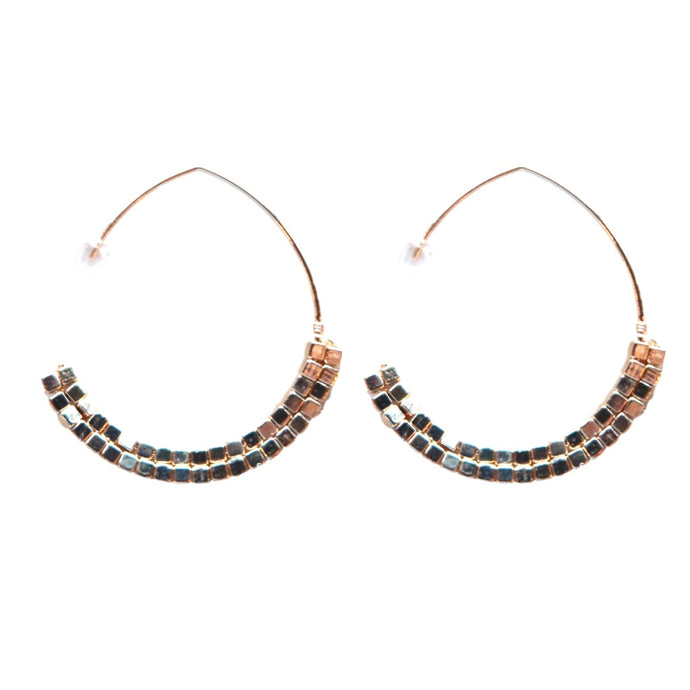 Gold Beaded Threader Hoops