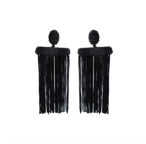 Black Fringe Beaded Tassel Earrings St Armands Designs