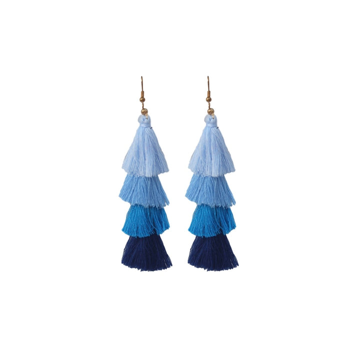 Blue Ombre Stacked Bon Bon Tassel Earring Sale St Armands Designs