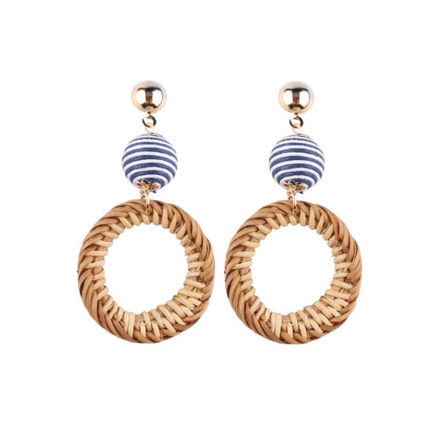 Blue and White Rattan / Bamboo Statement Earrings