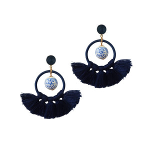 Rio Blue and White Ginger Jar Chinoiserie Statement Tassel Earrings