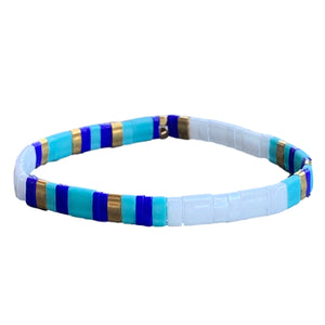 Tila Glass Splash Bracelets (Blue and White)