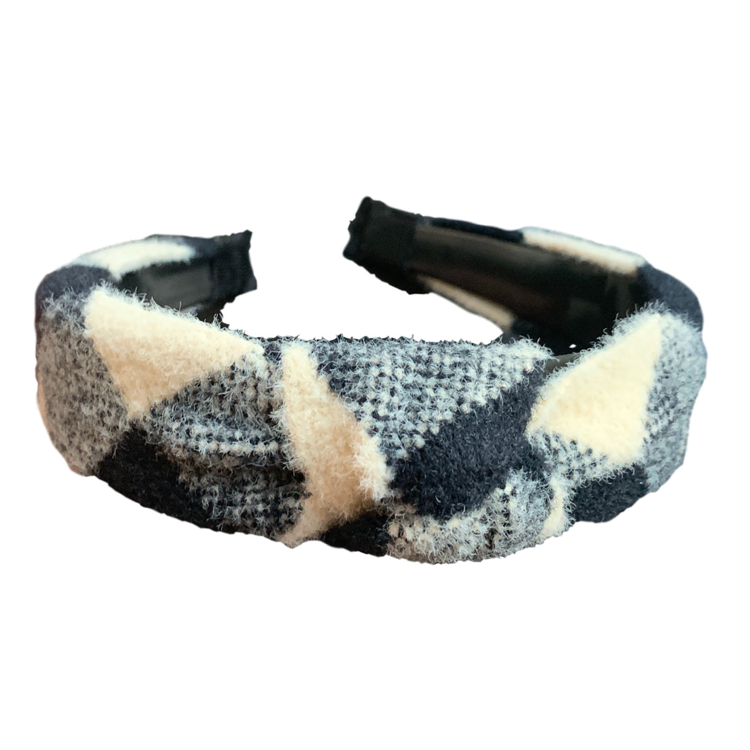 Buffalo Check Headband - White and Black