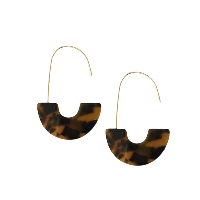 Classic Brown Tortoise Shell Thread Slip On Statement Hoop Earrings Half Moon Geometric