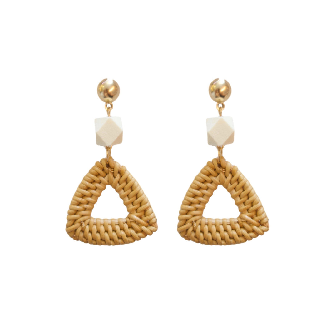 Bamboo Rattan Geometric Statement Earrings St Armands Designs