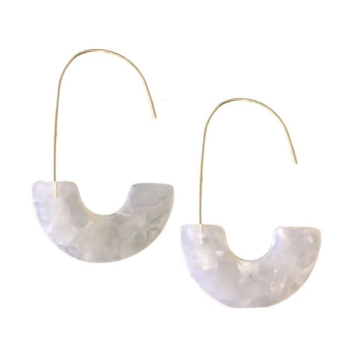 White Tortoise Shell Thread Hoops