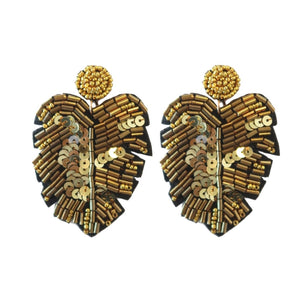Sequined Monstera Drops - Gold