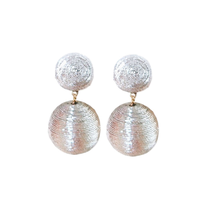 Gold Metallic Short Bon Bon Earrings