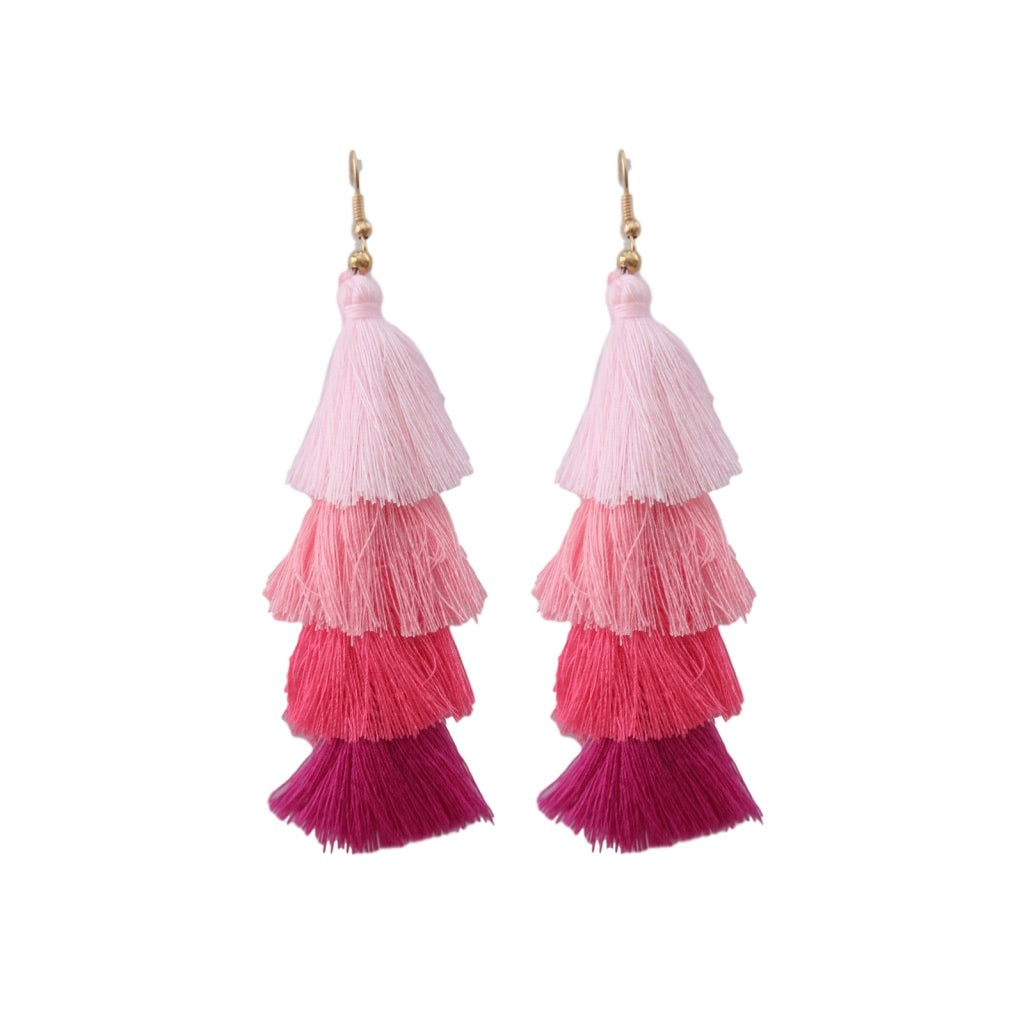 Pink Ombre Raleigh Feather Weight Stacked Tassel Earrings St Armands Designs