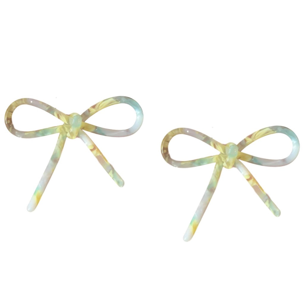 Yellow Marbled Bow Studs