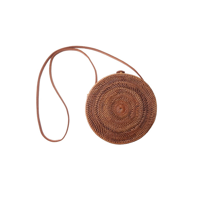 Round Rattan Crossbody Straw Bag Purse