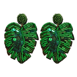 Sequined Monstera Drops - Green