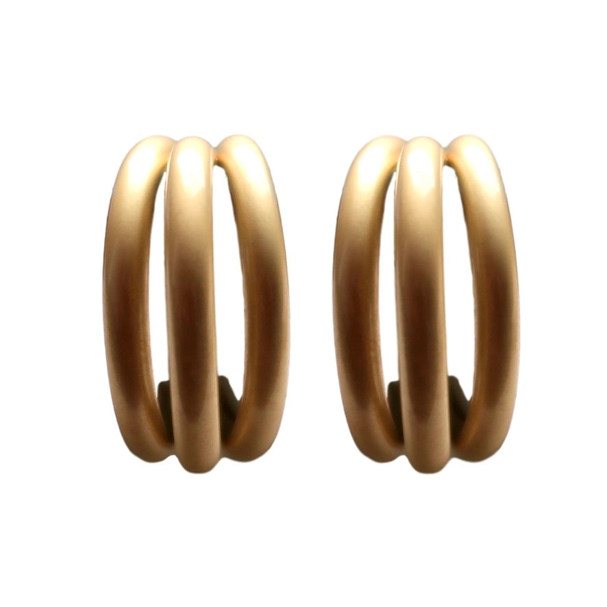 Gold Triple Hoops