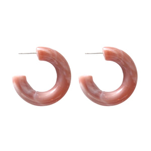 Chunky Lucite Hoops - Dusty Pink
