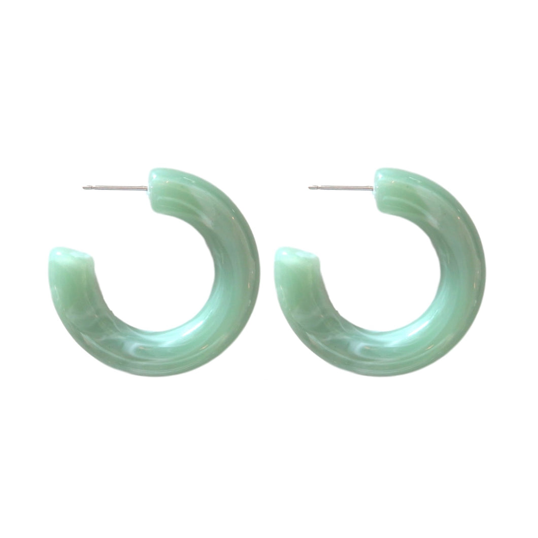 Chunky Lucite Hoops - Seafoam