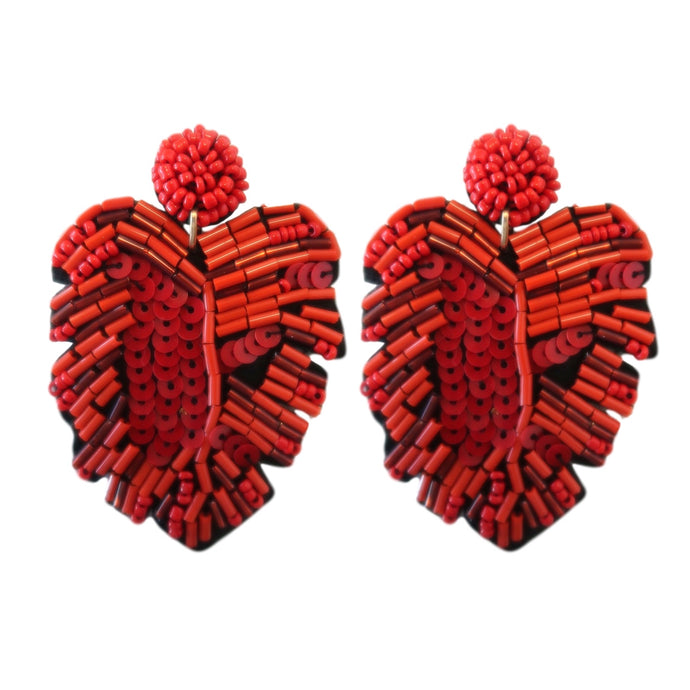 Sequined Monstera Drops - Red
