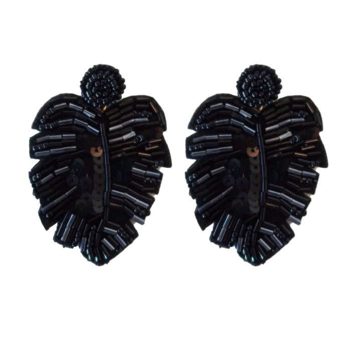 Sequined Monstera Drops - Black