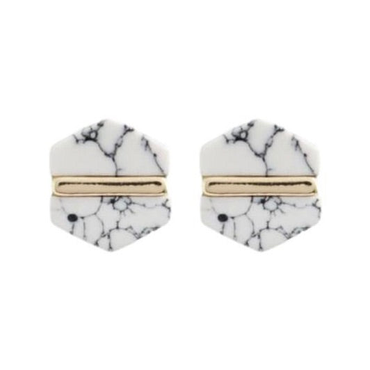 White Marbled Studs