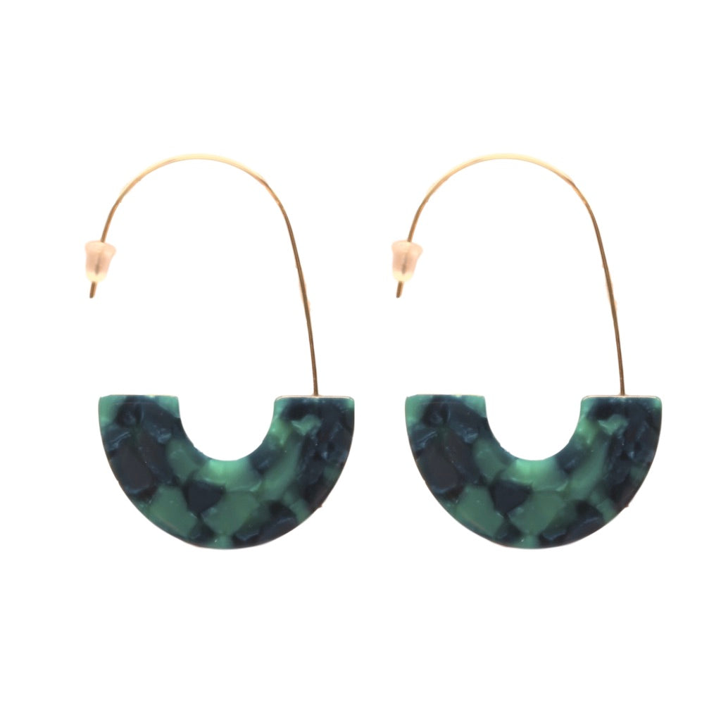 Emerald Tortoise Shell Thread Hoops