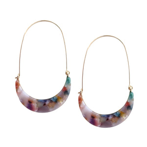 Multi-Color Tortoise Shell Threader Hoops