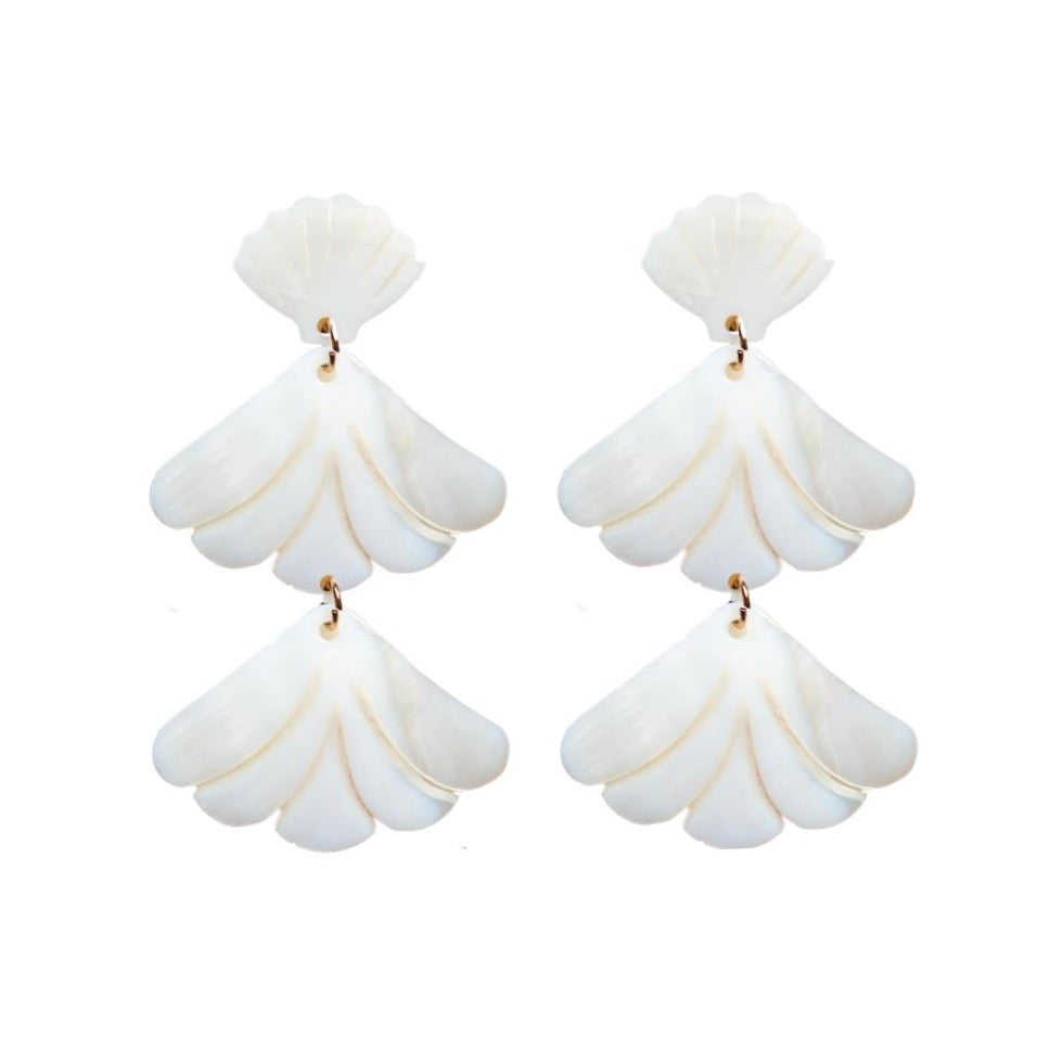 St Armands Designs Mother of Pearl Shell Statement Earrings