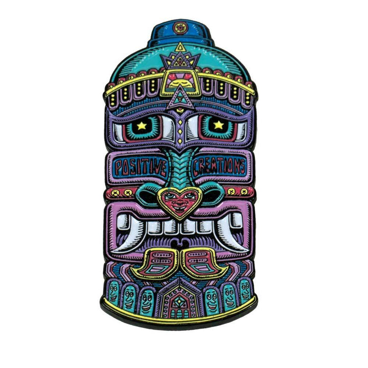 Teal Tribal Spray Can Pin