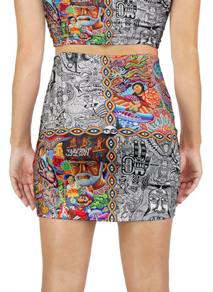 CHAOS CULTURE JAM MINI SKIRT - Positive Creations