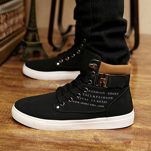 New 2017 Hot Men Shoes Sapatos Male Fashion Spring Autumn PU Leather Ankle Boots For Men Casual High Top Shoes Canvas Men Boots