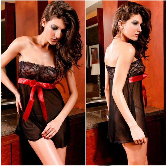 Women Sexy Lace Bow Lingerie Nightwear  Sleepwear Mini Dress G-String