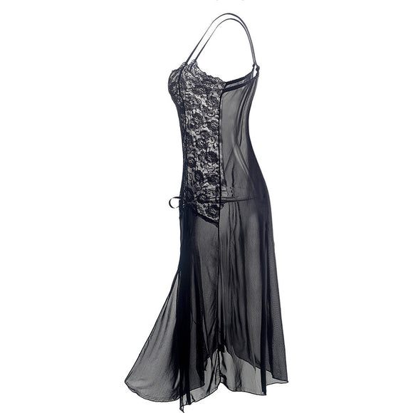 Women Sexy Black Perspective Dress Halter Nightdress