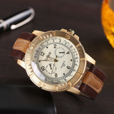 Luxury Men's Watches Analog Quartz Faux Leather Sport Wrist Dress Watch