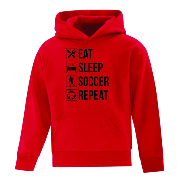 Eat, Sleep, Soccer, Repeat Hoodie (Youth Sizes)