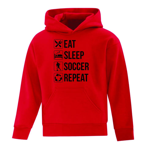 Eat, Sleep, Soccer, Repeat Youth Hoodie