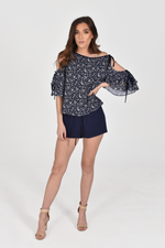 Ana Open Shoulder Floral Blouse
