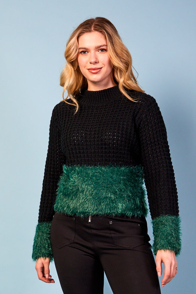 Elena Black and Green Jumper