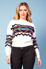 Bella Graphic Print White Jumper