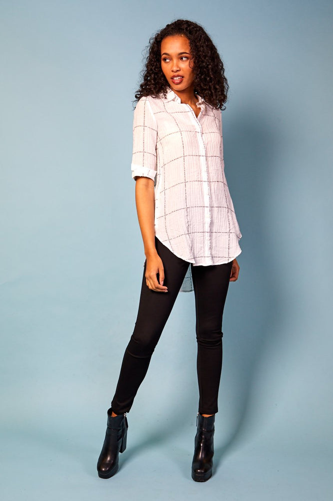Margaret Short Front Long Back Print Shirt