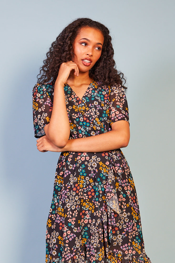 Maddalena Summer Dark Print Dress