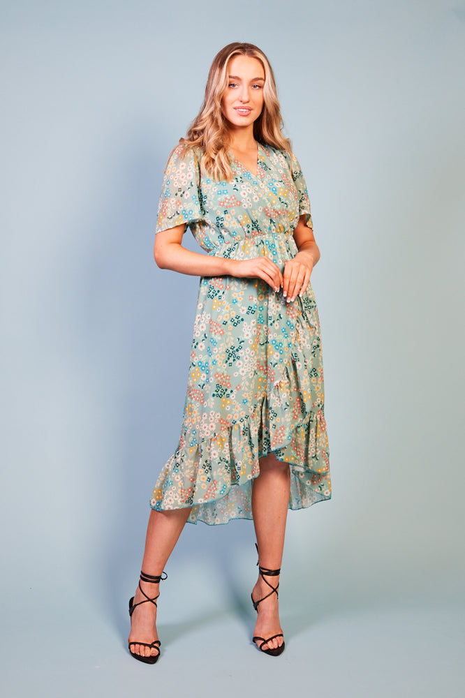 Maddalena Summer Mint Green Print Dress