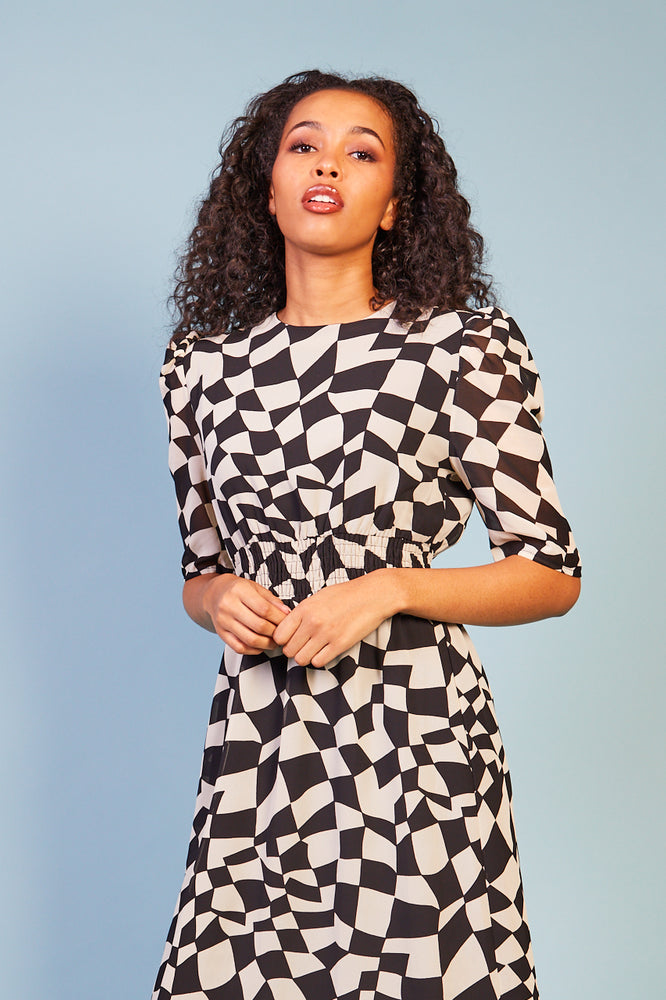 Viviana Black and Cream Print Dress