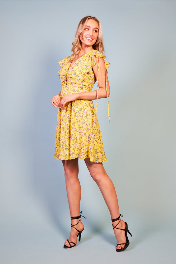 Meliore Ruffle Sleeve Print Dress