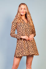 Leandra Animal Print Long Sleeve Dress