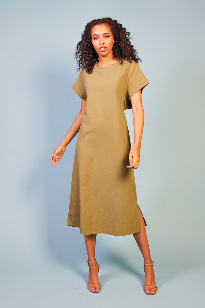 Penina Cap Sleeve Dress with Back Detail