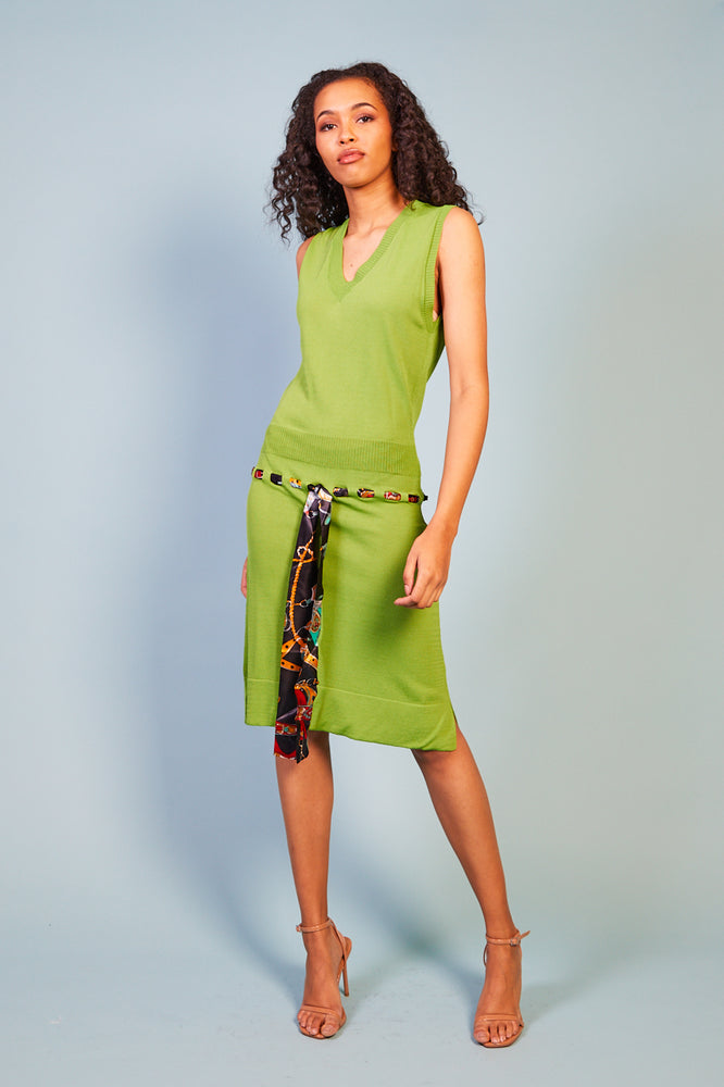 Madolina Knit Dress with Printed Belt