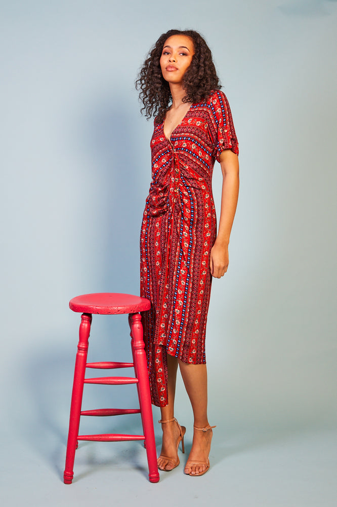 Letizia Red Print Dress